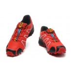 Men's Salomon Speedcross 3 CS Trail Running Shoes In Black And Red