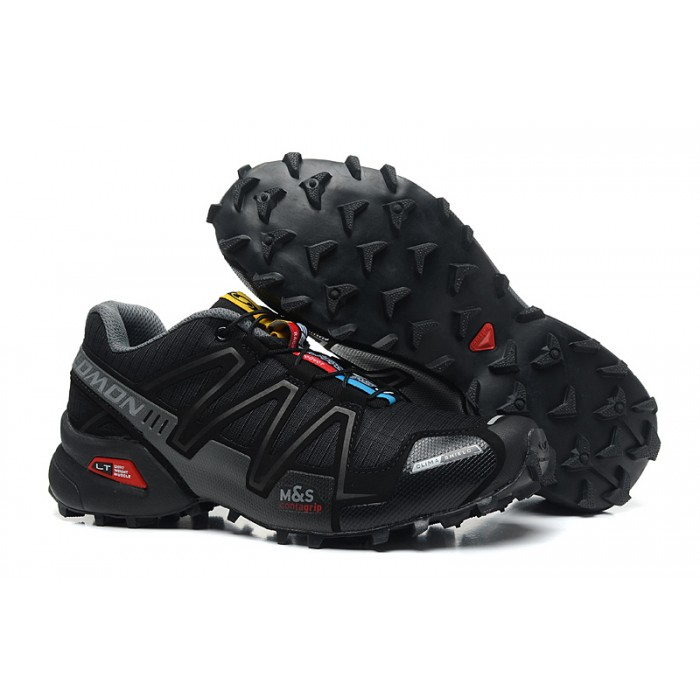 Men's Salomon Speedcross 3 CS Trail Running Shoes In Black Gray