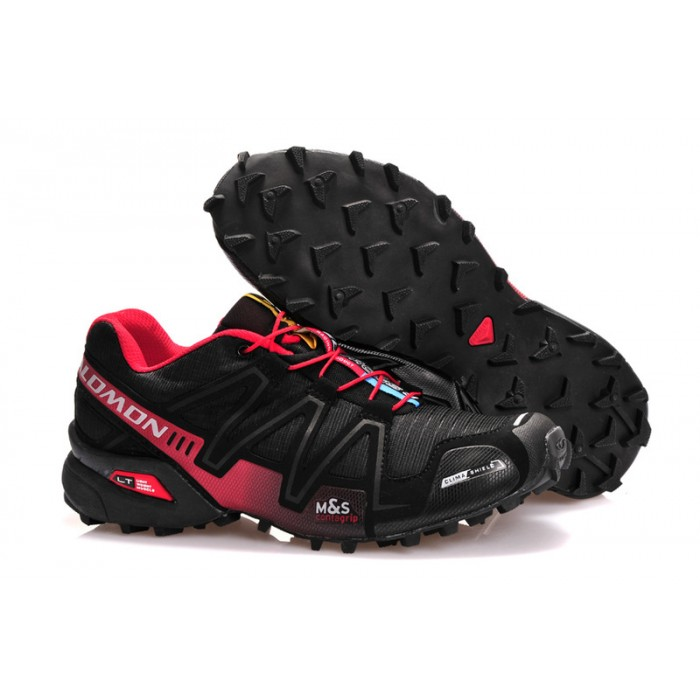 Men's Salomon Speedcross 3 CS Trail Running Shoes In Black Red