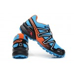 Men's Salomon Speedcross 3 CS Trail Running Shoes In Blue Orange Silver