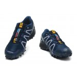 Men's Salomon Speedcross 3 CS Trail Running Shoes In Blue White
