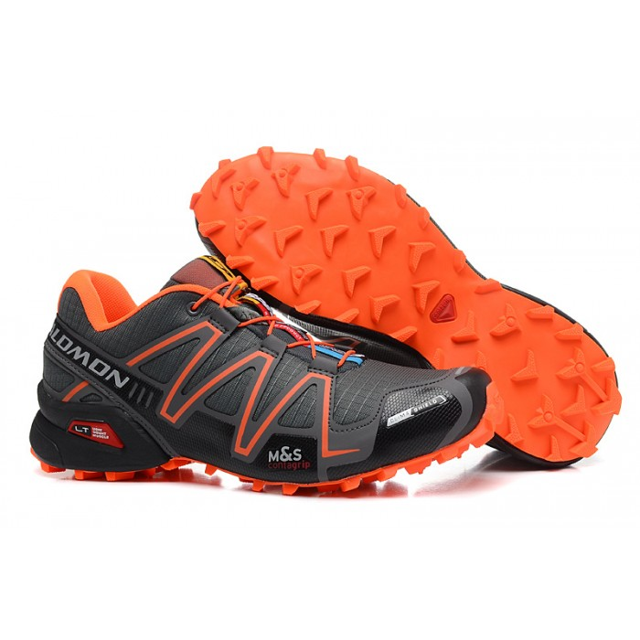 Men's Salomon Speedcross 3 CS Trail Running Shoes In Deep Gray Orange