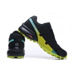 Men's Salomon Speedcross 4 Trail Running Shoes In Black Fluorescent Green