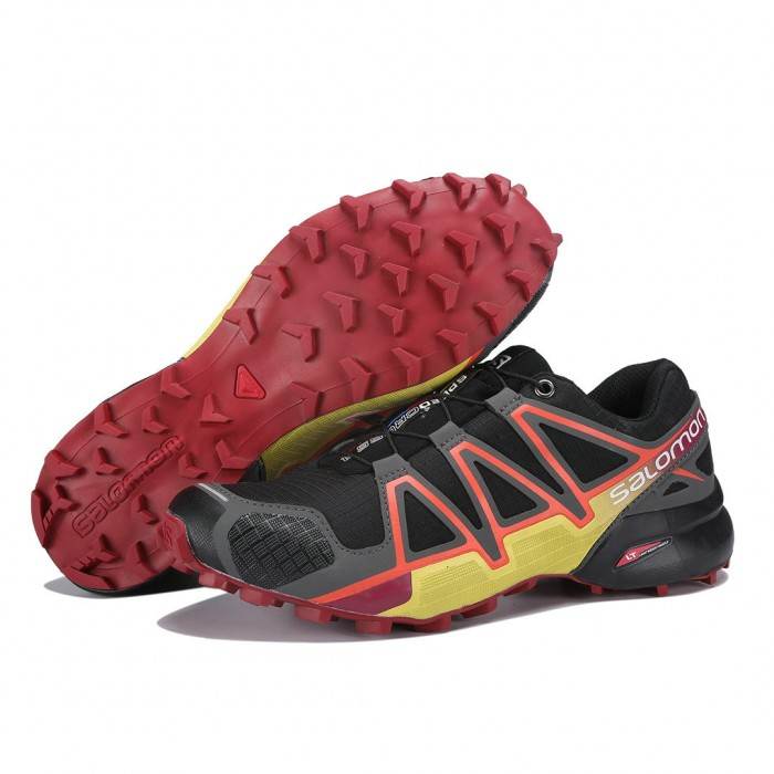 Men's Salomon Speedcross 4 Trail Running Shoes In Black Orange